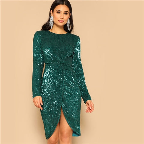 Twist Waist Tulip Hem Green Sequined Bodycon Party Dress