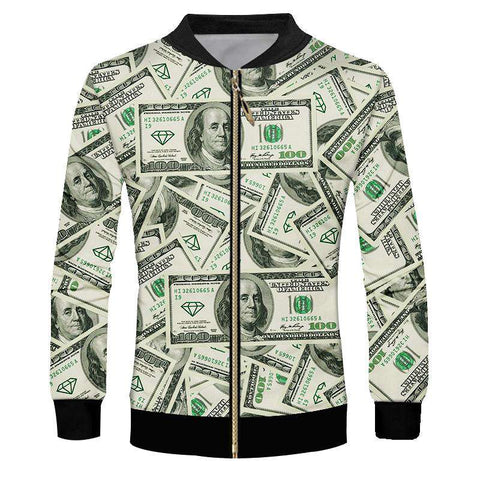 Men's Dollar money Print 3d Jackets
