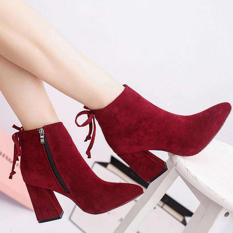 Cylinder Boots Stylish Flock Square High Heel