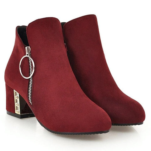 women thick ankle high heels boots