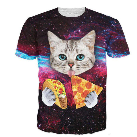 3D Men's T-Shirt Short Sleeve Cat O Neck