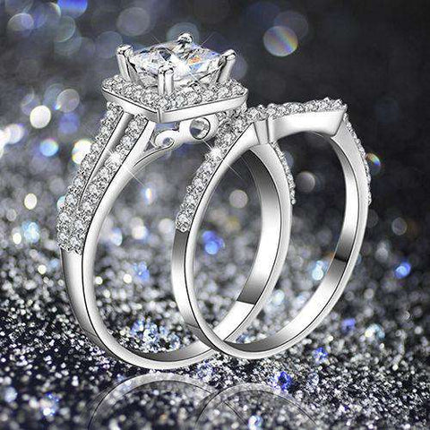 2 PCS Silver Plated Women Princess Cubic Zirconia Rings