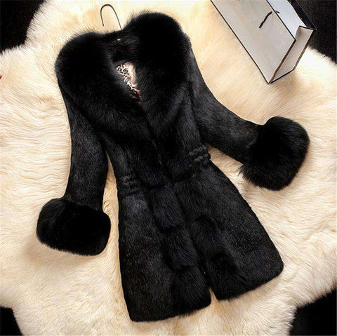 Fox Collar Fur Women Winter Plus Size Overcoat