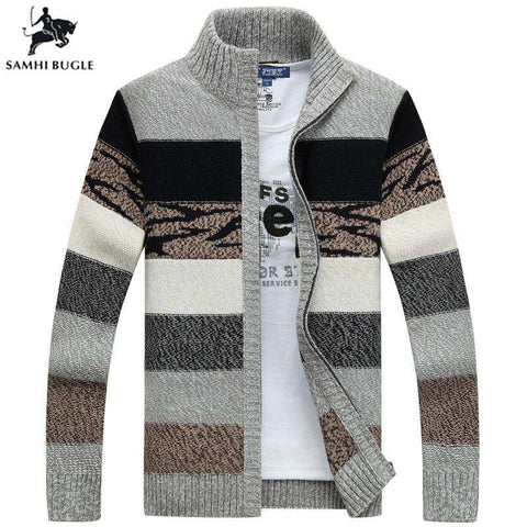 Men's Knitted Winter Wool Cardigans Collar Sweaters