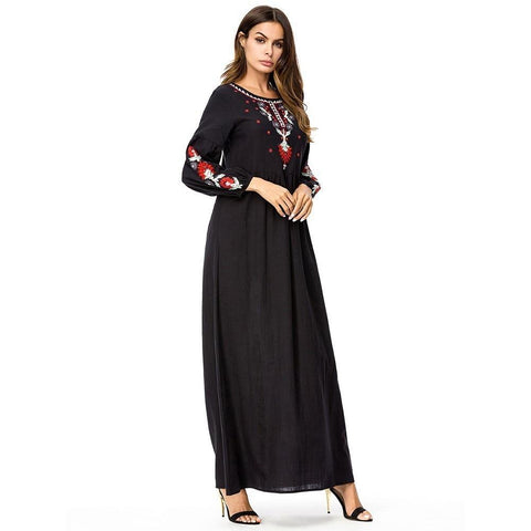 Vintage Ethnic Embroidery Long Sleeve Women Long Dress