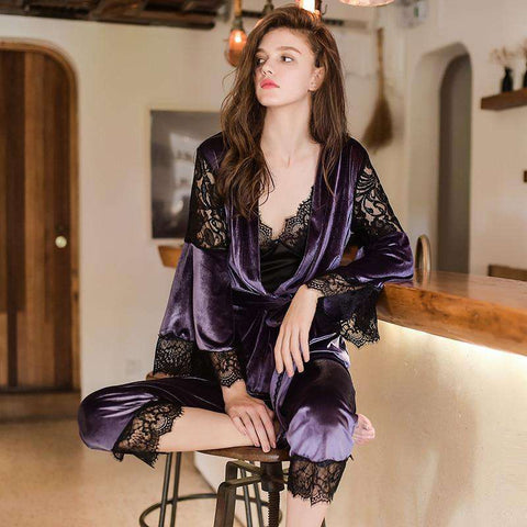 3 Piece Women's Lace Spliced Velvet Thicken Sleepwear Pajamas Set