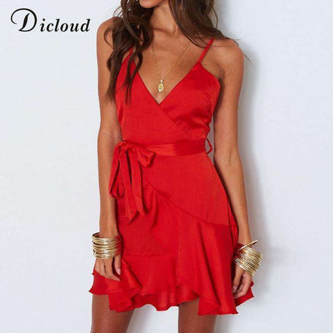 sexy v neck red satin party mini beach sundress women