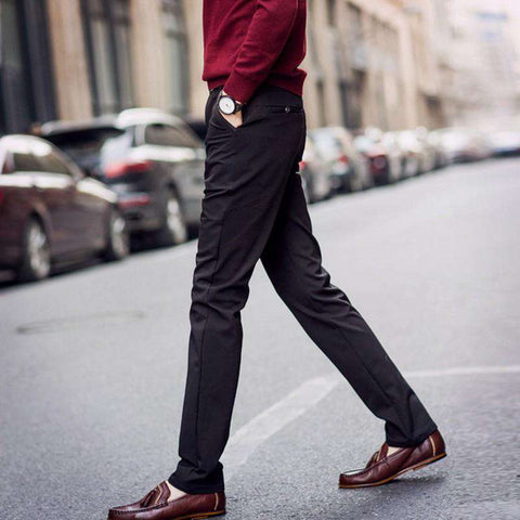 Men's Straight Slim Fit Skinny Dress Pants Black