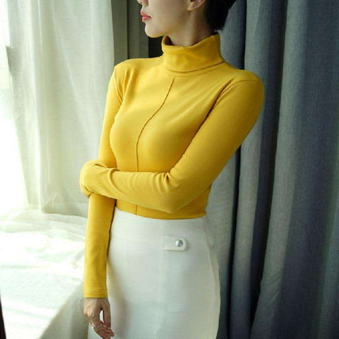 Basic Bottoming Long Sleeve Shirt Women Turtleneck Christmas