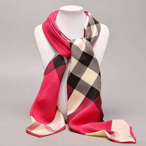 Classic Plaid Square Stoles Noble Silk Scarf Women