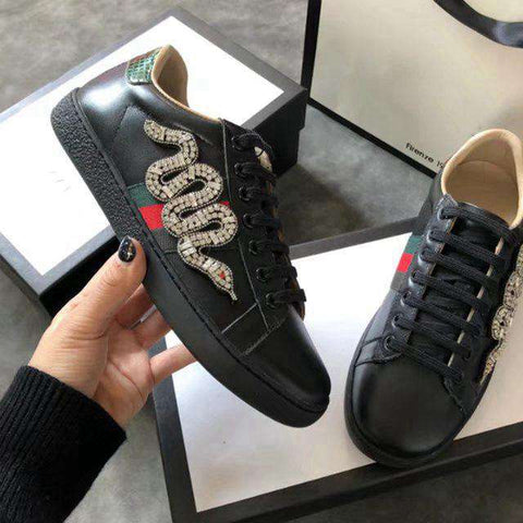 Genuine Leather Fashion Flat Platform Sneakers Women
