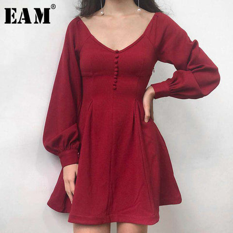 Red V-neck Fashion Above Knee Mini Woman Dress