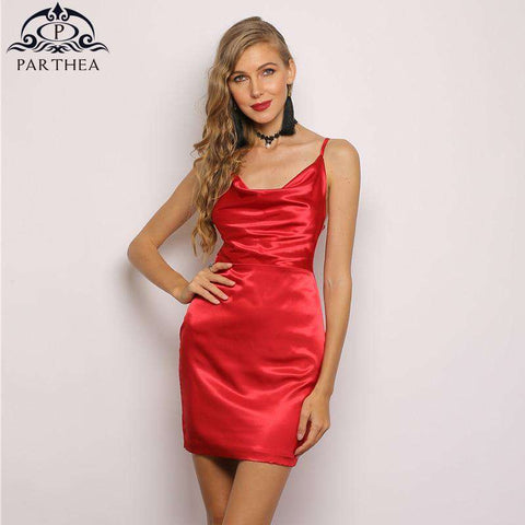 Women Glossy Silky Satin Elegant Two Layers Red Party Dress