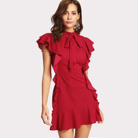 Women Ruffle Hem Polyester Bow Tied Red Party Dress