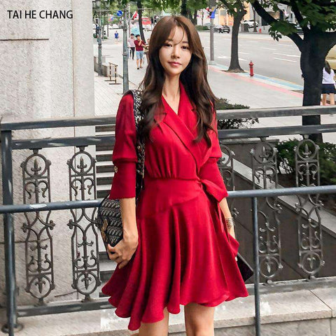 Casual Long Sleeve Mini Runway Women Dress