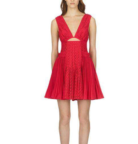 Sexy Backless Red Self Portrait Dress Women