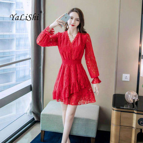 Full Flare Sleeve V-neck Solid A-line Red Dress Women