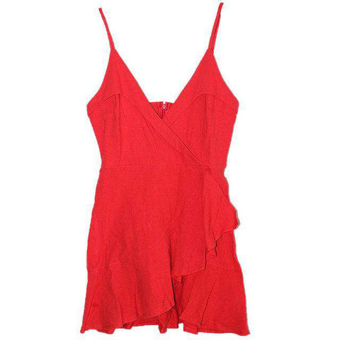 Sexy V-Neck Ruffles Sleeveless Fashion Red Dress Women
