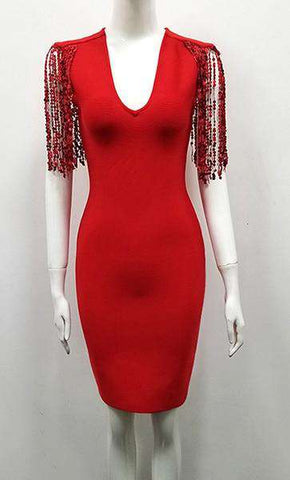 Deep V-Neck Tassel Red sequined Bodycon Sleeveless Dress Women