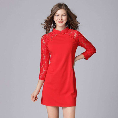 Women Chinese Style Lace Patchwork Fashion Red Party Dress