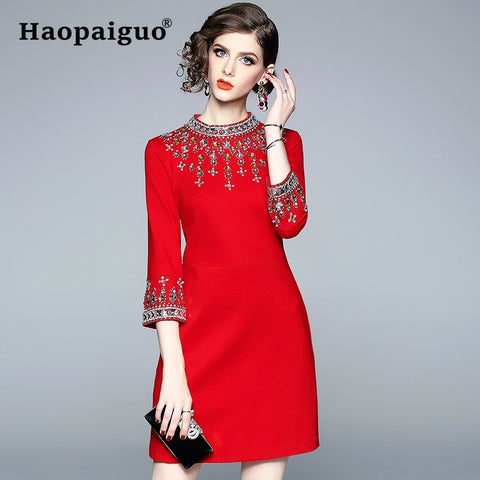 Women O-neck Long Sleeve Midi Red Party Dress