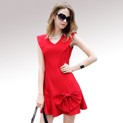 Women Elegant V-Neck Bow Red Chiffion Party Dress