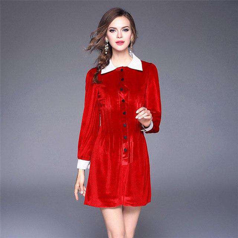 Red Robes Patchwork Elegant Winter Long Sleeves Mini Dress