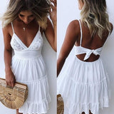 Women V-neck Spaghetti Strap Sleeveless White Summer Dress