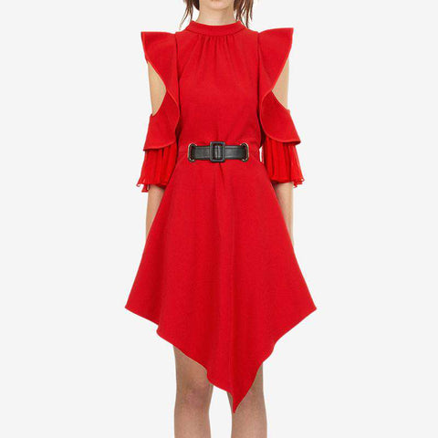 Off Shoulder Elegant Red Ruffle Self Portrait Dress