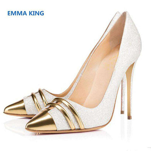 Bling White Gold Leather Pointed Toe Sequin Women Pumps