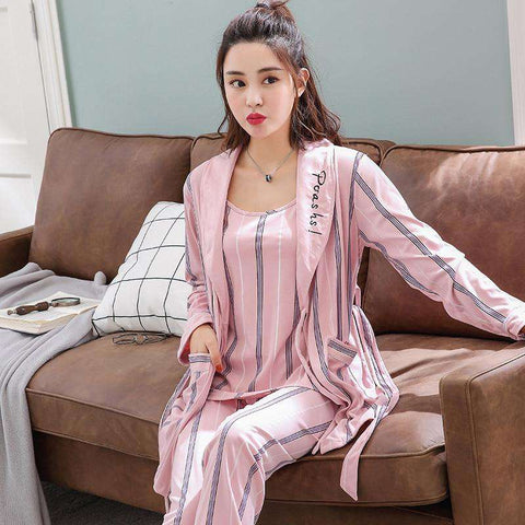 3 Pcs Sexy Short Pijama Winter Women Sleep Set