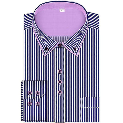 Fashion Stripes Men's Business Casual Long Sleeved Shirts