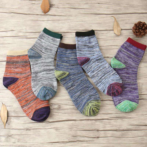 Retro National Wind Fashion Thick Lines Sock Men
