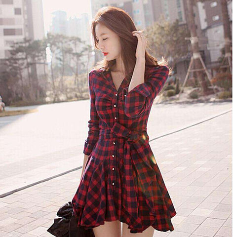 Casual Red Retro Long Sleeve Mini Plaid Dress