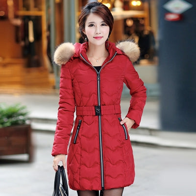 women slim Long Cotton outerwear Snow wear wadded jacket