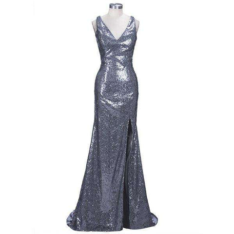 Sequin V Neck Mermaid Long High Slit Prom Dress