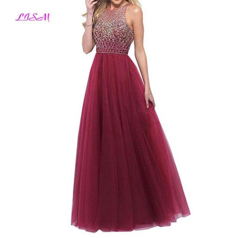 Women O-Neck Luxury Beadings Long Evening Prom Dress