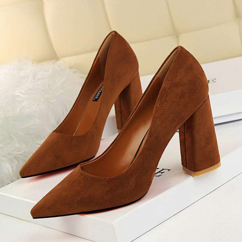Suede Pointed Rough and Heeled Pumps Women