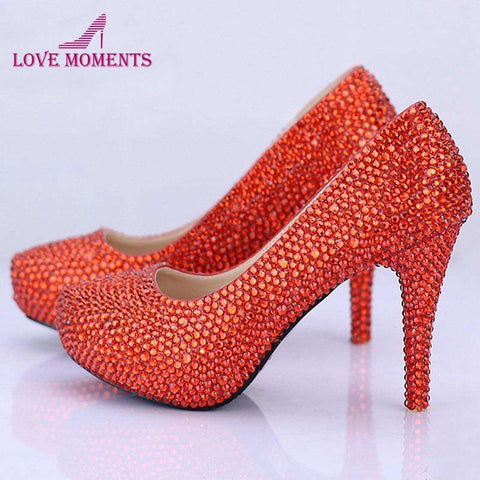 Glitter Rhinestone Red Wedding Shoes Pumps