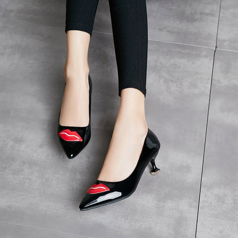 women red bottom chunky heels pumps