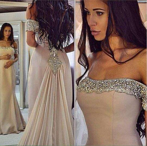 Chiffon Mermaid Sparkling Off the shoulder prom dress Women