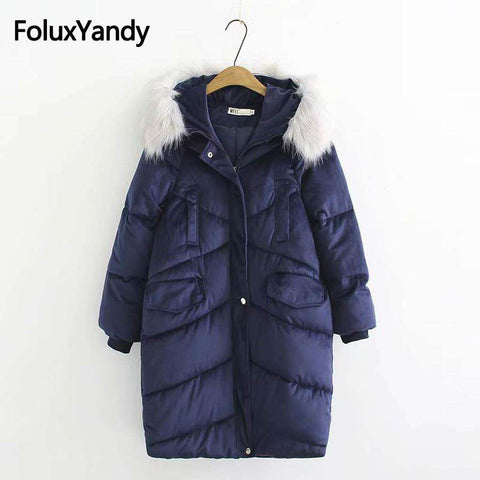 Women Winter Faux Fur Hooded Outerwear Casual Parkas