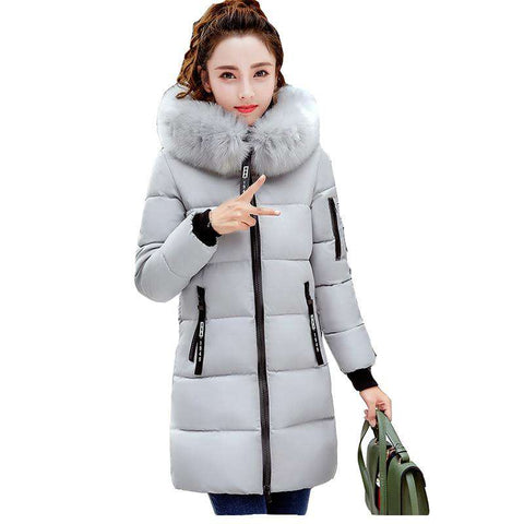 long down warm hooded cotton coat thicken jacket