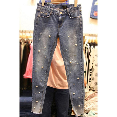 Women Pearl Beaded Ripped Hole Fashion Jeans