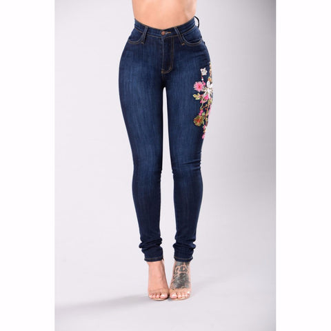 Women High waist Embroidery Ripped Jeans