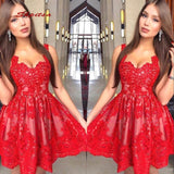 Women Prom Red Short Party Lace Cocktail Dress