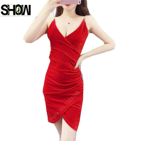 Women Autumn V Neck Sleeveless Bodycon Dress