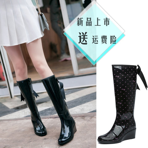 Women Dot Styles Wedges Rain Boots Women