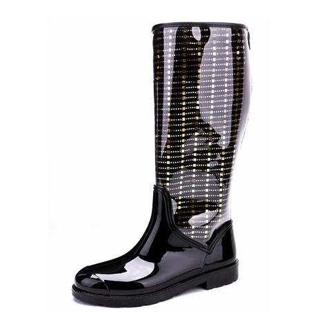 Women's Transparent PVC Back Zipper Rain Boots