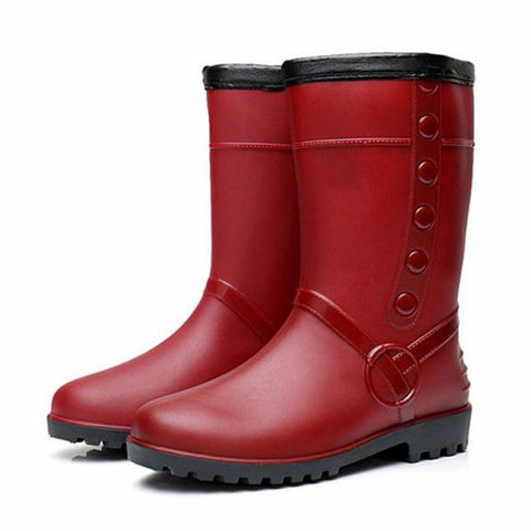 Women Mid Calf Warm Plush Rain Boots